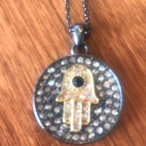 BCBG Hamsa and Circle Necklace